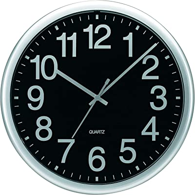 """Tempus Commercial Wall Clock with Frame and Quartz Movement, 13-1/2"""", Silver, Pack of 4"""
