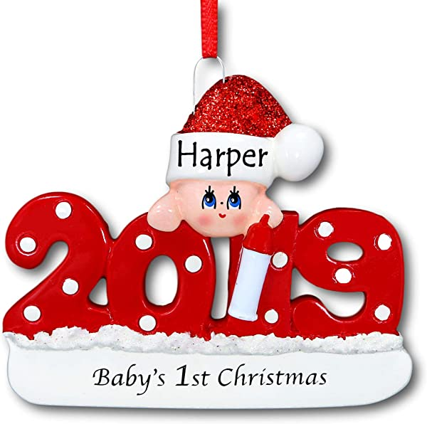 Rudolph And Me 2019 Baby S First Christmas Ornament Red 1st Christmas Tree Ornament In Glittered Santa Claus Stocking Hat For Baby Boy Or Baby Girl Free Custom Name