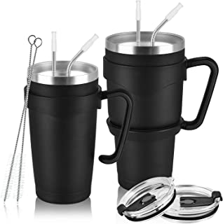 2 Pack 30oz and 20oz Insulated Travel Tumblers for Home School Office Camping, Stainless Steel Double Wall Vacuum Travel Tumbler with 3 Lids, 4 Straws, 2 Handles, 2 Straw Brushes, 1Cup Brush, Black