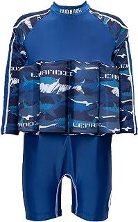 Lemandii Long Sleeve Float Swim Suit for Kids Boys One-Piece with Adjustable Buoyancy Back Zippers