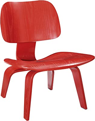 LexMod EEI-510-RED Fathom Plywood Lounge Chair, Red