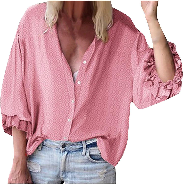 Hawaii Women Tee Tops Ruffle Long Sleeve Button Shirt Blouse Fashion Pattern Print Shirts