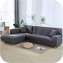 Sofa Cover:Solid Color Tight Wrap Sofa Cover for Living Room Elastic 2 Pieces L Shaped Sectional Corner Sofa Covers-Grey-1...