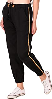 Fasnoya Womens' Black Side Striped Jogger Pants