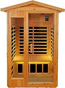 KUNSANA Far Infrared Sauna Room for 2 Persons Low EMF Home Indoor/Outdoor Saunas Canadian Premium Hemlock Wood-Sweating Detox-Colored Light Spectrum-LCD Display-Bluetooth