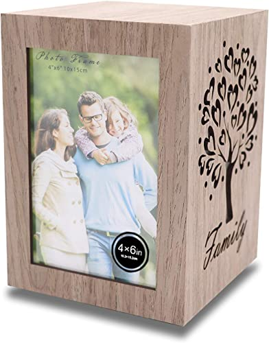 wholesale GenSwin 5x5x7 Inch Rotate Photo Picture Frames Collage for Two 4x6 new arrival Inch wholesale Image, Tabletop Photo Frame Display, Battery Operated Light, Home Family Best Gift Choice(Oak) online sale