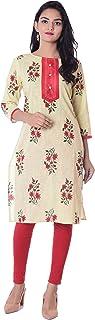 METRO-FASHION Women's Knee Length Off White Pink Yellow Blue Casual Printed Straight Cotton Keyhole Neck Neck 3/4 Sleeve Kurta (XX-Large, Yellow)