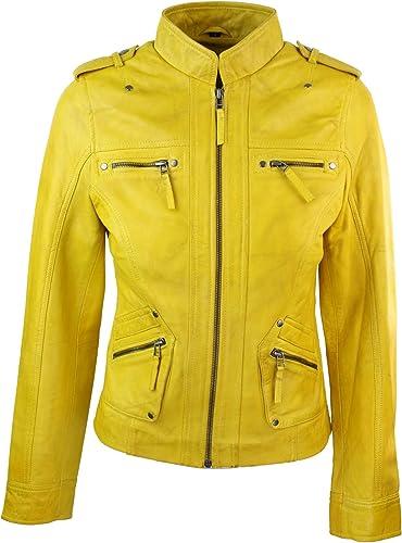 Infinity Damenjacke 100% Echtleder Grün Gelb Rosa Eng Geschnitten Biker Still