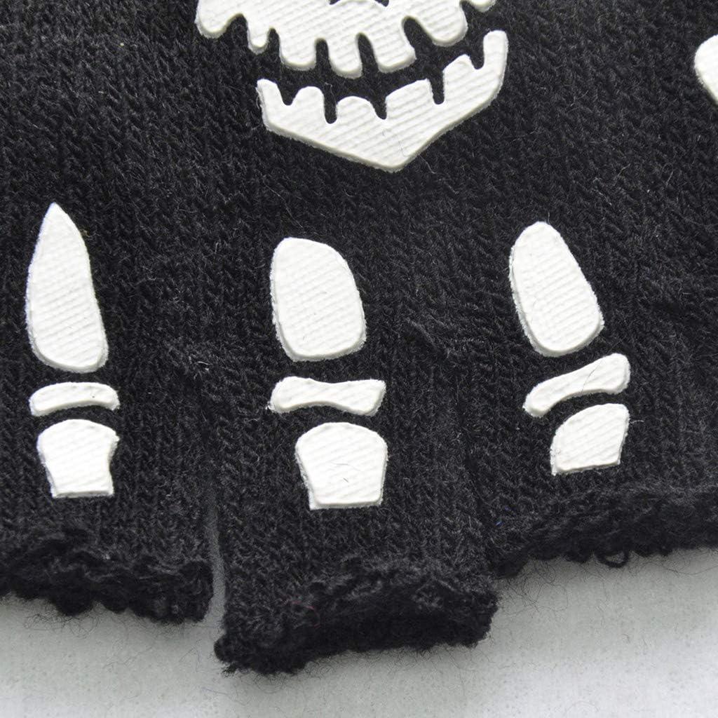 Youngy Kids Halloween Cosplay Skeleton Half Finger Gloves Luminous Fingerless Mittens A Winter Gloves