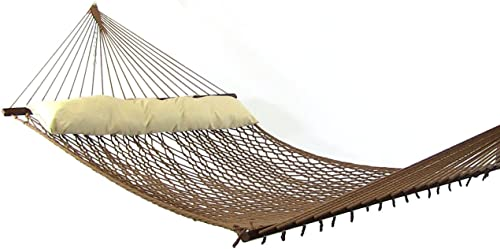 new arrival Sunnydaze Polyester Rope outlet sale Hammock, Double Wide Two Person with Spreader Bars popular - for Outdoor Patio, Yard, and Porch (Brown) online sale