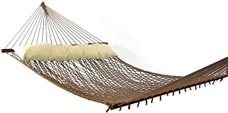 Sunnydaze Polyester Rope Hammock, Double Wide Two Person with Spreader Bars - for Outdoor Patio, Yard, and Porch (Brown)