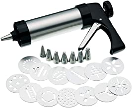 Elonsey Stainless Steel Cookie Press Gun Set,Maker Cake DIY Decorating Tools and Biscuit Maker Press Gun Kit with 13 Discs...