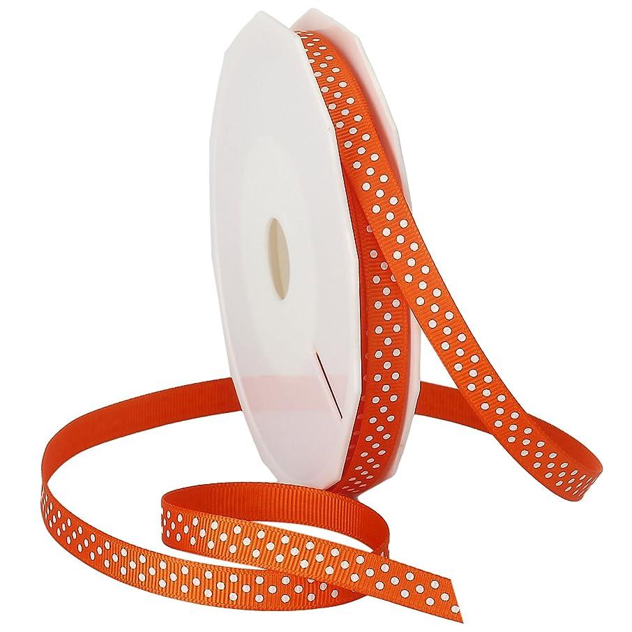 Morex Ribbon Swiss Dot Polyester Grosgrain Ribbon, 3/8-Inch by 20-Yard Spool, Pumpkin