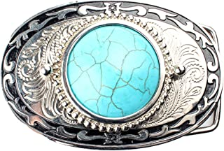 Baosity Men Women Silver Metal Cowboy Western Long Big Belt Buckle Large Turquoise