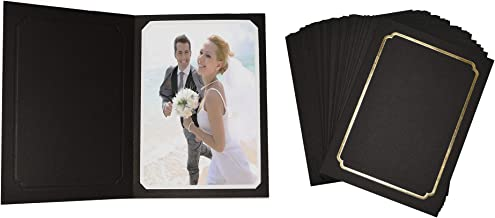 Golden State Art, Acid-Fre Photo Folders for 5X7 or 4x6 Photo,Pack of 100 Black with Gold Lining Cardboard/Paper Frames,Great for Portraits and Photos,Special Events: Graduation,Wedding