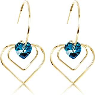 Sllaiss 14K Real Gold Plated Blue Heart Dangle Earring Made with Swarovski Crystals for Women Sterling Silver Hooks