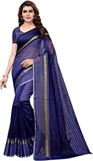 Florence Cotton with Blouse Piece Saree (FL-IF-Rustom Navy_New_Blue_OS)