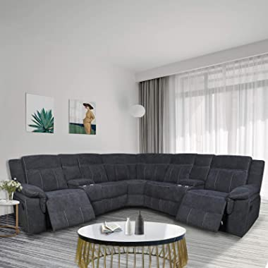 Pannow Symmertrical Reclining Sectional Sofa Sectional Sofa Power Motion Sofa Living Room Sofa Corner Sectional Sofa with Cup
