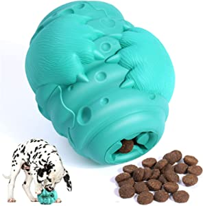 Byesuro Dog Chew Toys for Aggressive Chewers, Heavy Duty Dog Puzzle Treat Food Dispensing Toy with Natural Rubber, Interactive Dog Teeth Clean Toothbrush for Medium Large Breeds