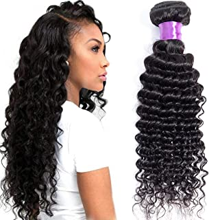Misoun Hair Brazilian Virgin Hair Deep Wave Hair One Bundle 16inch 100% Unprocessed Virgin Human Hair Extension Weave Weft Natural Color (100+/-5g)/bundle Can be Dyed and Bleached