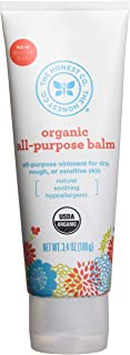 The Honest Company Organic All-Purpose Balm   Certified Organic   Plant-Based   Hypoallergenic Skin Care   Organic Sunflower, Olive, Coconut & Tamanu Oil   Soothe Sensitive Skin   3.4 Ounces