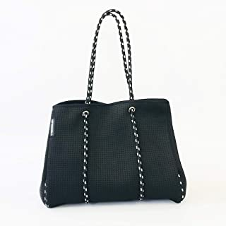 Hedzup 2018124 Black Large Neoprene Tote Bag Black and White Ropes with Organiser, Black, Large Tote