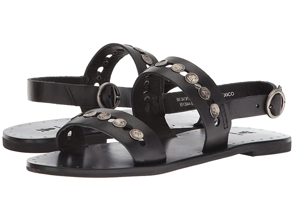 9c325db2a6b96 Frye Ally 2 Band Hammered Stud Sling (Black) Women s Sandals