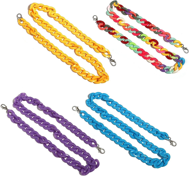 N/Q 4-8Pcs Retro Colorful Acrylic Eyeglass Lanyard Strap with Clips for Women Men Girls Boys Sunglass Holder Chunky Twist Chain Necklace Eyewear Retainer Statement Jewelry-B Rainbow