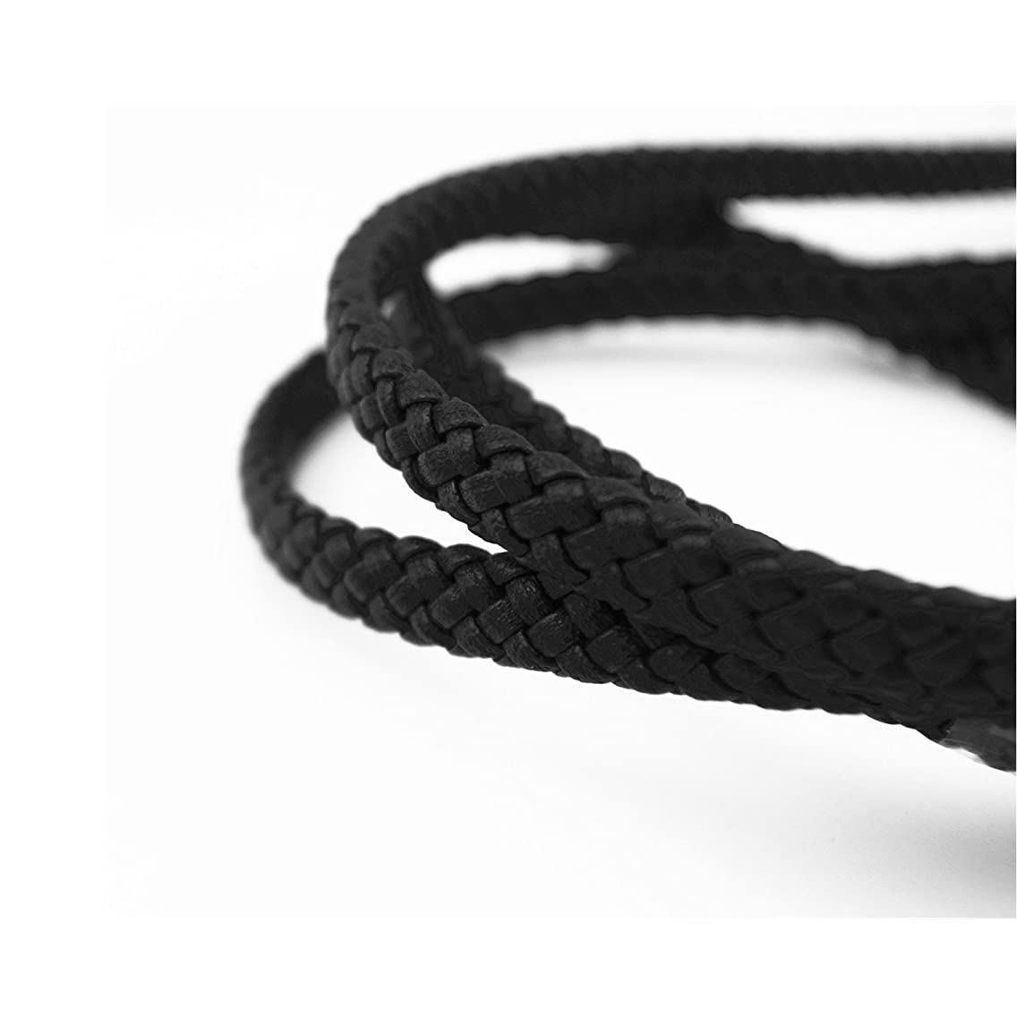 Glory Qin 10x5mm Flat Folded Bolo Braided PU Leather Cord for Making Bracelet & Jewelry (Black, 1 Yard)