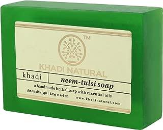 Khadi Natural Ayurvedic Herbal Handmade Neem Tulsi Soap for Dry Acne Prone Skin (125 g)