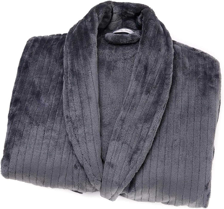 Robe for Men Plush Warm Soft Bathrobe with Pockets Black or Blue