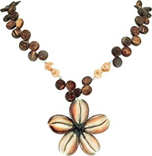 BlueRica Cowrie Flower Pendant on Wood Disk Bead Necklace