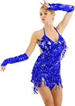 YiZYiF Women's Halter Neck Latin Salsa Tango Ballroom Dance Costume Tassels Sequins Dress