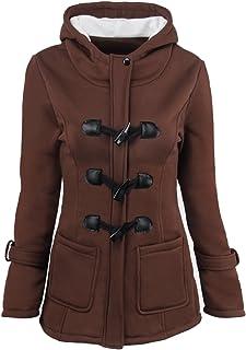 Sudadera con Capucha para Mujer de Otoño Invierno Color Sólido Jacket con Bolsillo Abrigos Hoodie Encapuchada con Horn Bot...