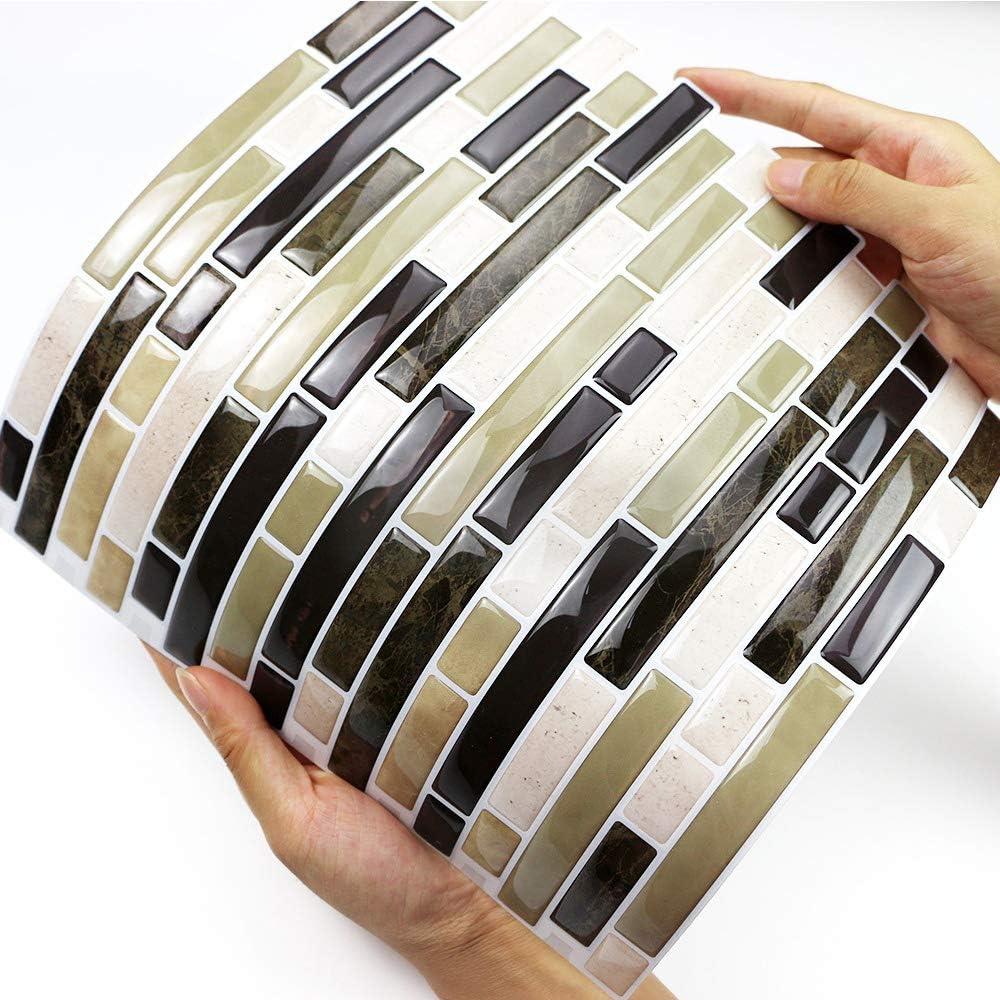 Self-Adhesive Backsplash Tile for Kitchen in Seagreen 10 Sheets, 10X10 Peel and Stick Backsplash