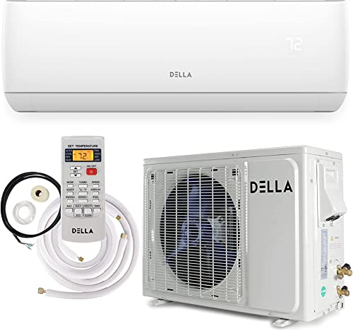 new arrival Della 12000 BTU Mini Split Air Conditioner Ductless high quality Inverter System 17 SEER 115V with 1 Ton Heat Pump, Pre-Charged Condenser and Full Installation sale Accessories Kit AHRI online