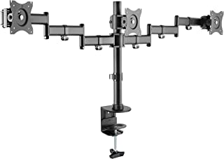 "Rocelco Triple Articulated Triple Monitor Desk Mount Arm,  Fits 13""- 27"" Flat Panel Computer Monitors - Black"