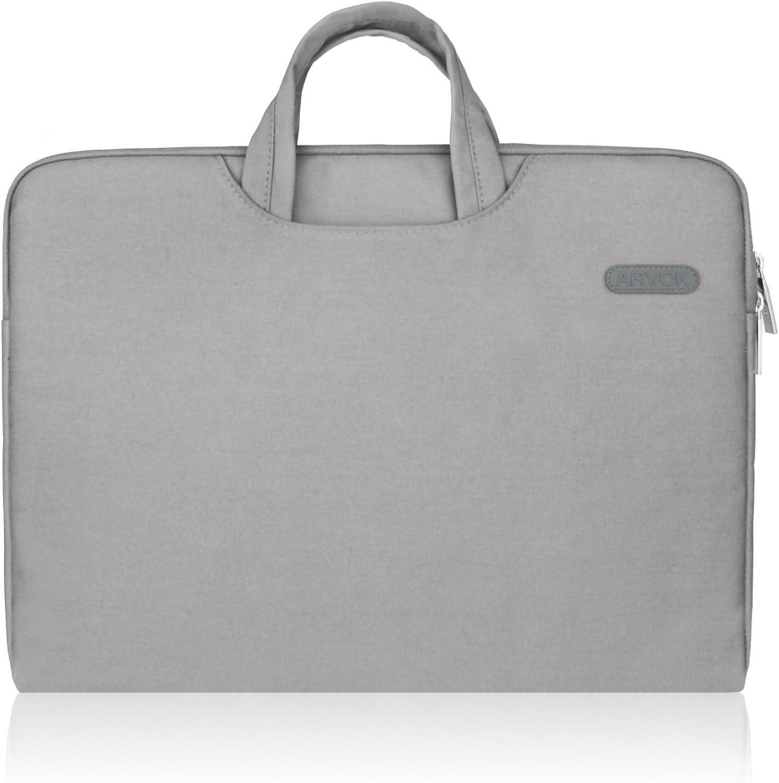 Arvok 15-15.6 Pulgadas Funda para Portátiles/Maletín Funda Bandolera para MacBook Pro Retina/MacBook Air/Protectora Funda Bolso para Acer/ASUS/DELL/Lenovo/HP/Samsung (Gris)