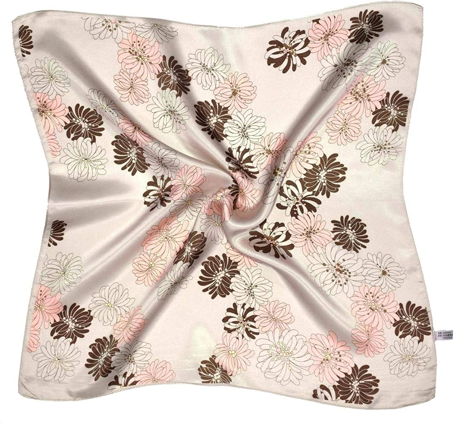Beige Flower Print Small Thick Silk Square Scarf