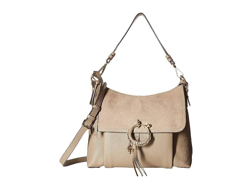 See by Chloe Medium Joan Suede Leather Shoulder Bag (Motty Grey) Shoulder Handbags