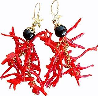 Orecchini pendenti in Corallo rosso e pietra Onice