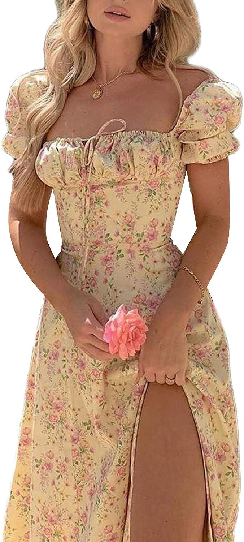 Women Sqare Neck Floral Long Dress Puff Short Sleeve Maxi Dress High Waist Split Sundress Split Flowy Midi Dress