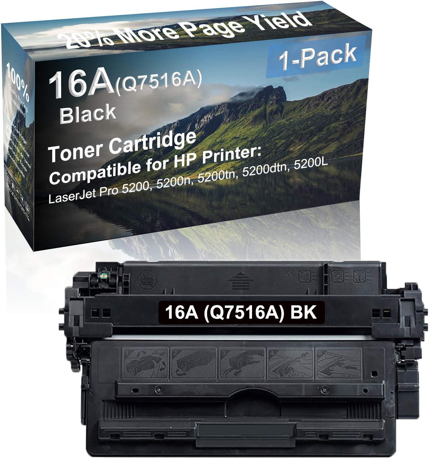 1-Pack Compatible High Capacity 5200, 5200n, 5200tn, 5200dtn, 5200L Printer Toner Cartridge Replacement for HP (Q7516A) 16A Toner Cartridge (Black)