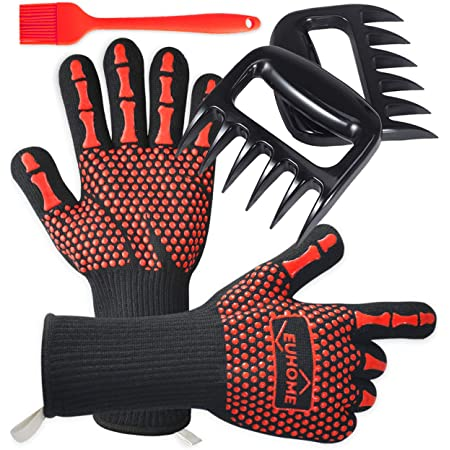 EUHOME 3 in 1 BBQ Gloves Grill Accessories with EN407 Certified Oven Mitts 1472 F° Extremely Heat Resistant Gloves, Grill Brush & BBQ Bear Claws for Men, Grill, Baking, Christmas…