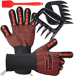 EUHOME 3 in 1 BBQ Gloves Grill Accessories with EN407 Certified Oven Mitts 1472 F° Extremely Heat Resistant Gloves, Grill ...