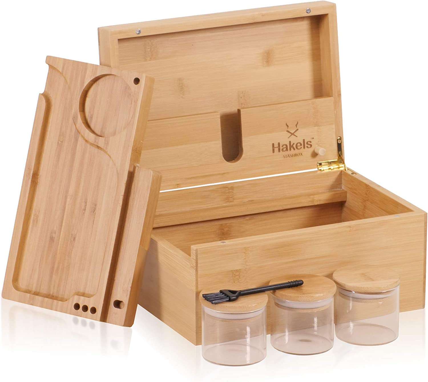 Large Wooden Bamboo Stash Under 2021 blast sales Box. With Sliding Rolling No Mess Tray