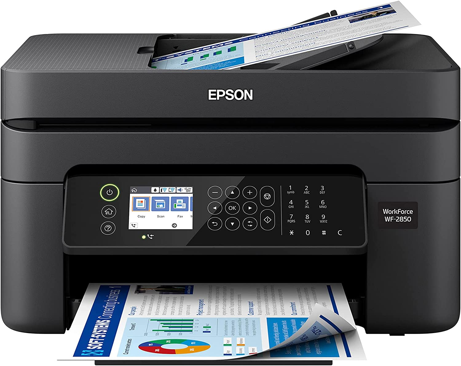 Epson Premium Workforce WF 28 Series All-in-One Color Inkjet Printer I Print Copy Scan Fax I Wireless I Mobile Printing I Auto 2-Sided Printing I 2.4