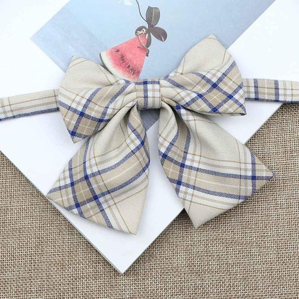 LQGSYT Silk Cotton Bowties Fashion Cute College Style Striped Plaid Ladies School Girl Student Uniform Butterfly Knot (Color : B)