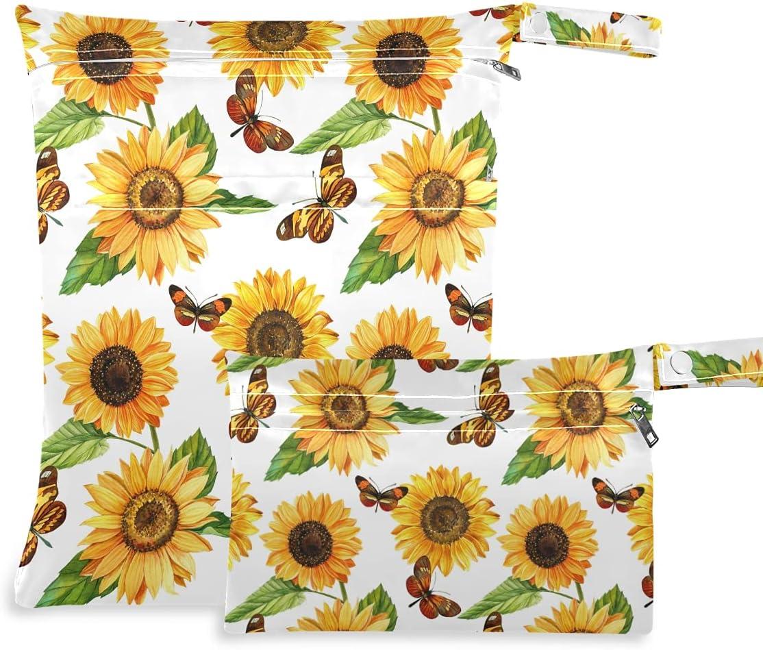 OTVEE Yellow Sale SALE% OFF Sunflowers Butterfly Wet Dry Waterproof Pcs 2 Fashion Bag