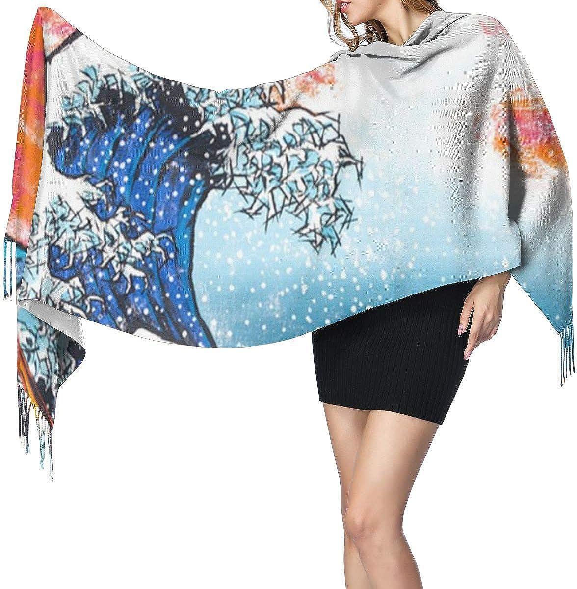 The Great Wave Off Kanagawa Women's Winter Warm Scarf Fashion Long Large Soft Cashmere Shawl Wrap Scarves